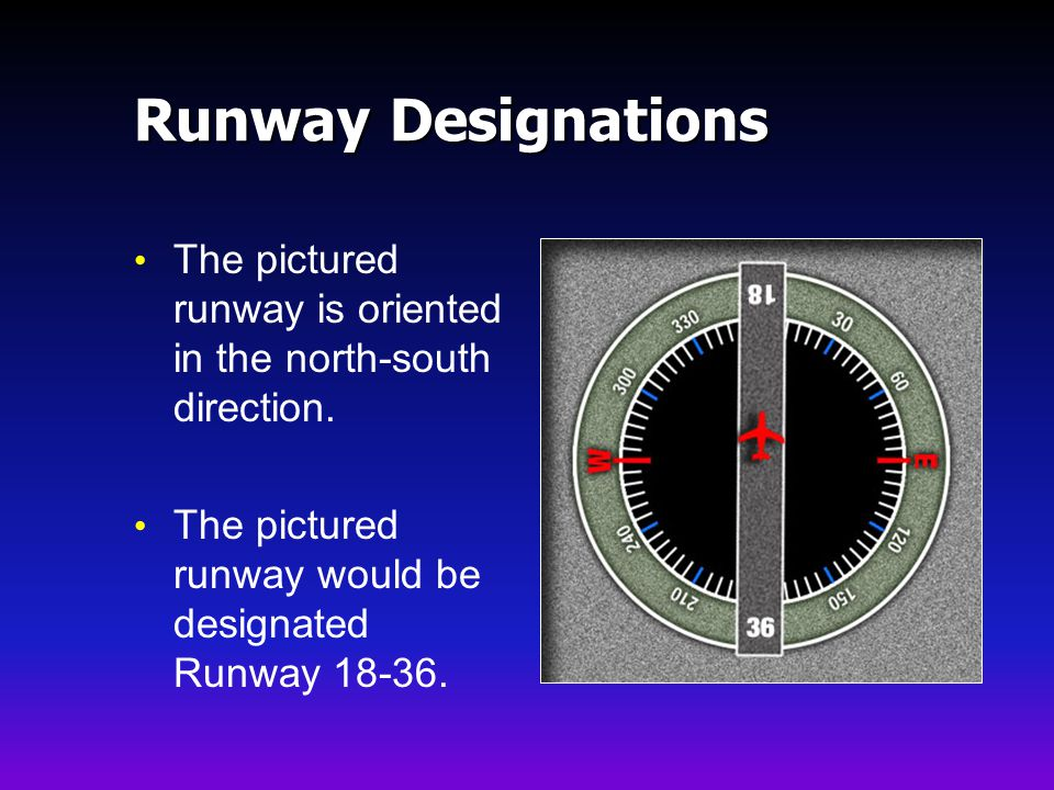 Runway Designations The pictured runway is oriented in the north-south direction.