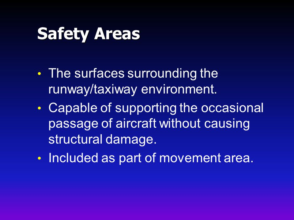 Safety Areas The surfaces surrounding the runway/taxiway environment.