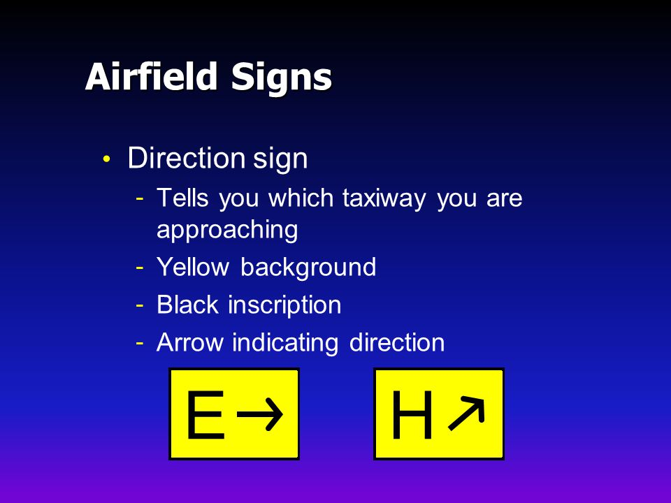 E H Airfield Signs Direction sign