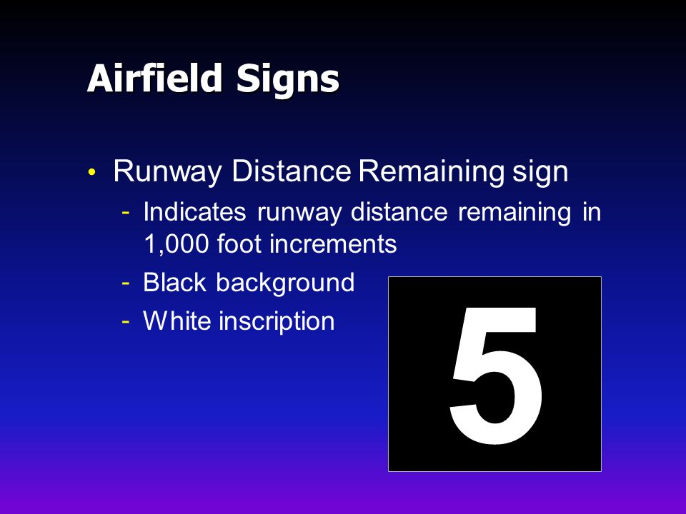 5 Airfield Signs Runway Distance Remaining sign