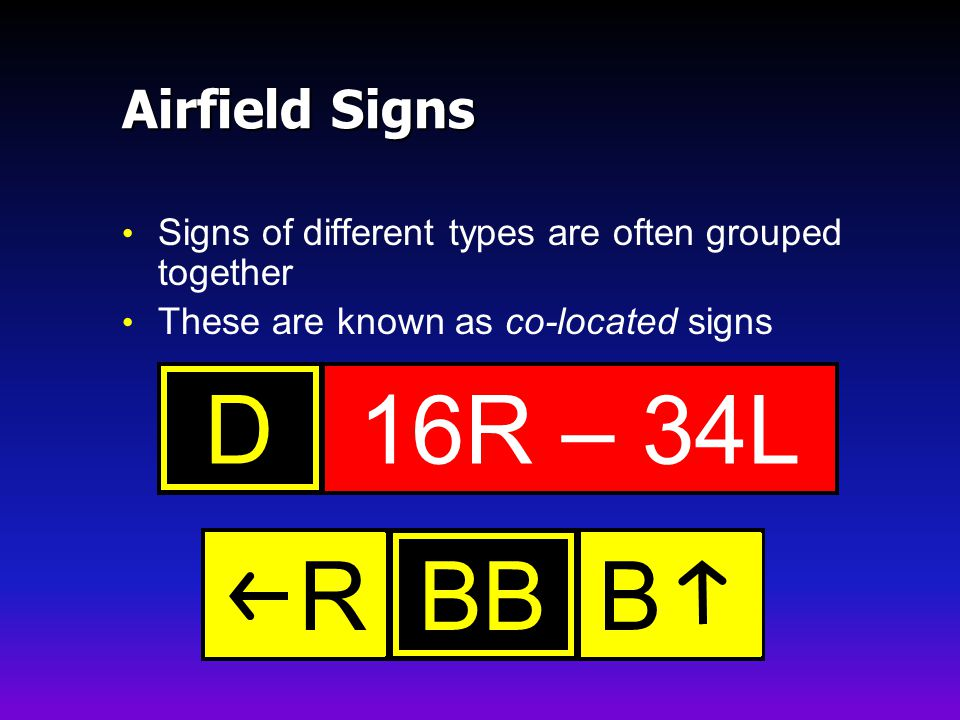 16R – 34L D BB B R Airfield Signs