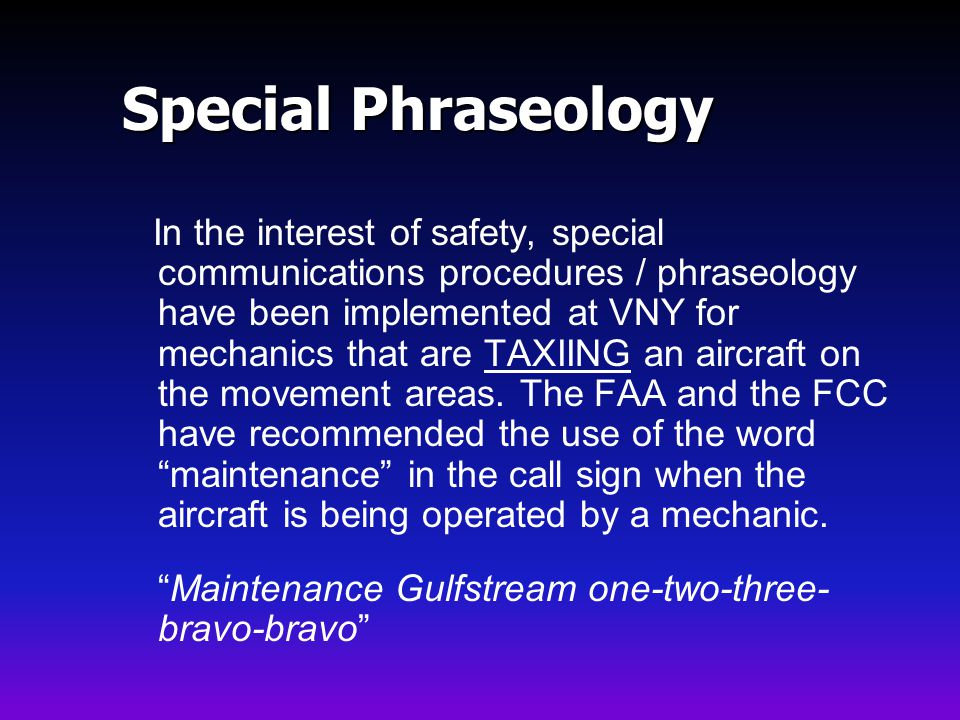 Special Phraseology