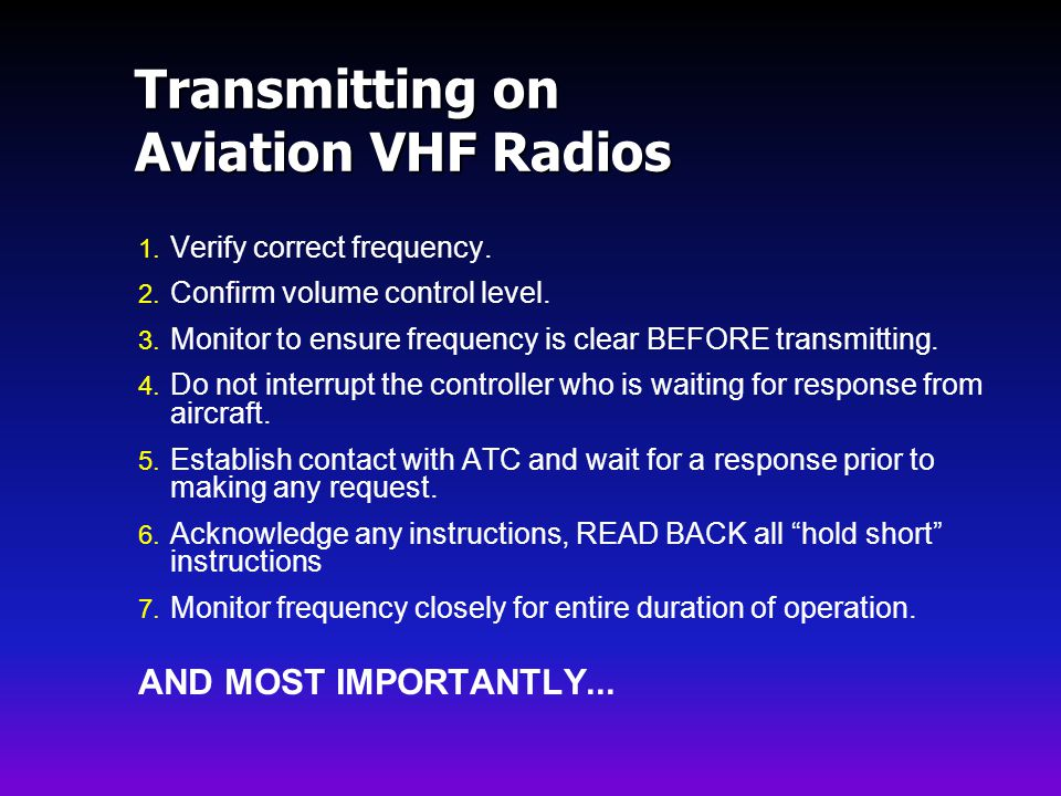 Transmitting on Aviation VHF Radios