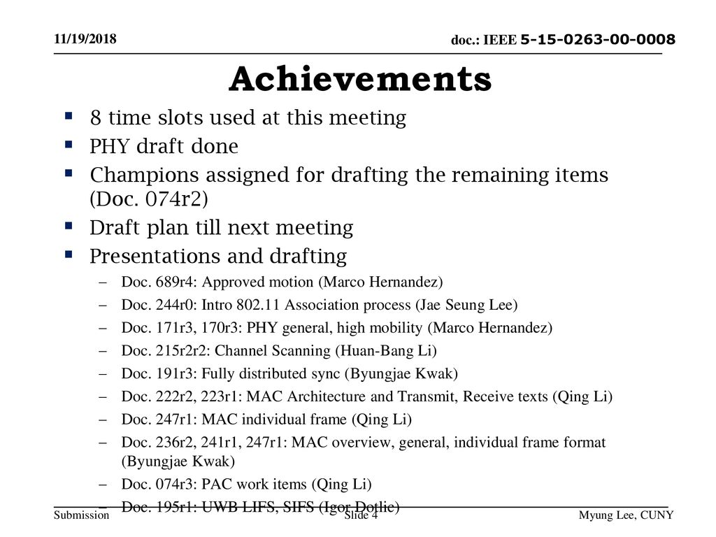 Achievements 8 time slots used at this meeting PHY draft done