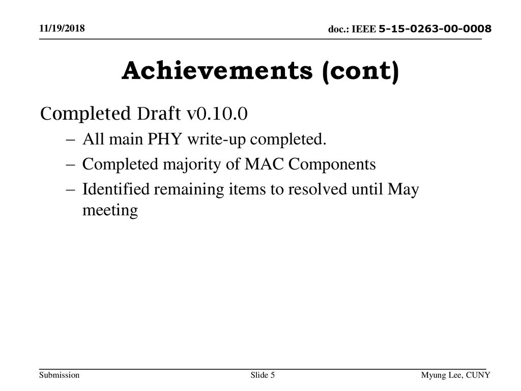 Achievements (cont) Completed Draft v0.10.0