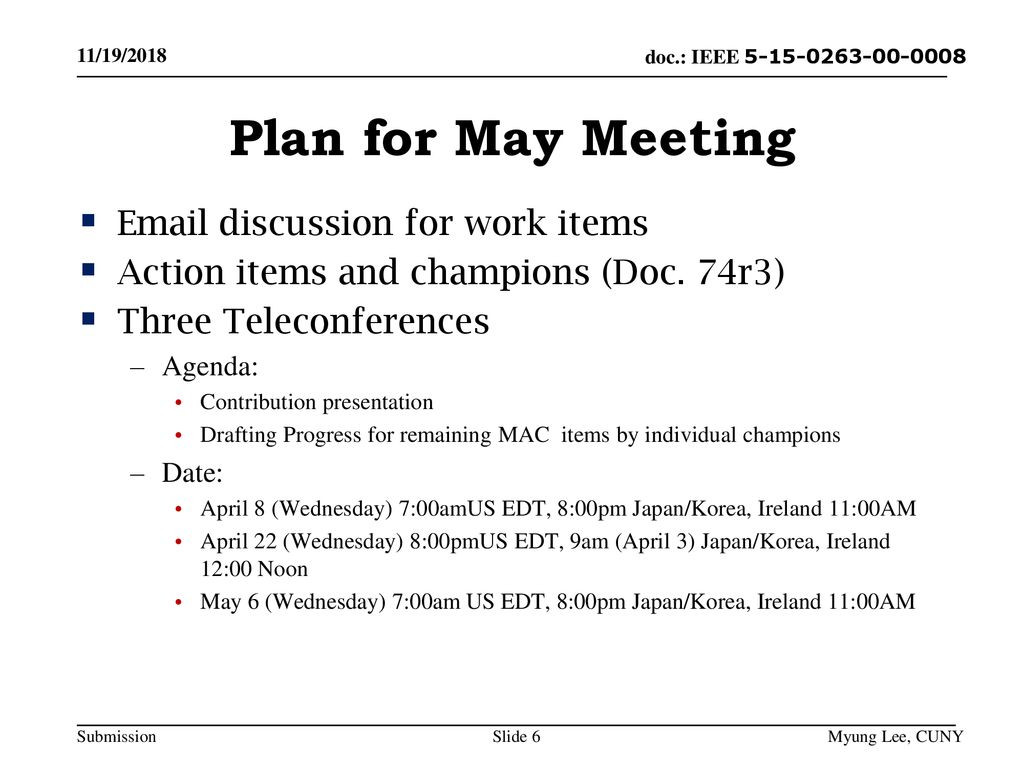 Plan for May Meeting  discussion for work items