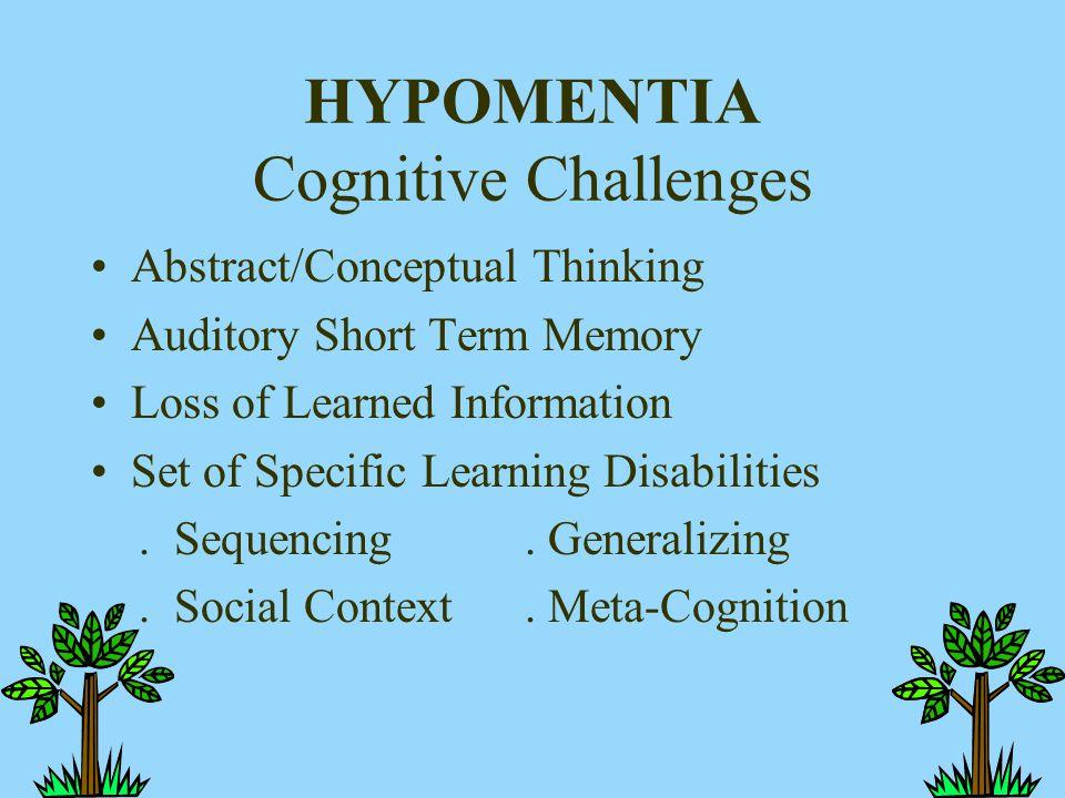 HYPOMENTIA Cognitive Challenges