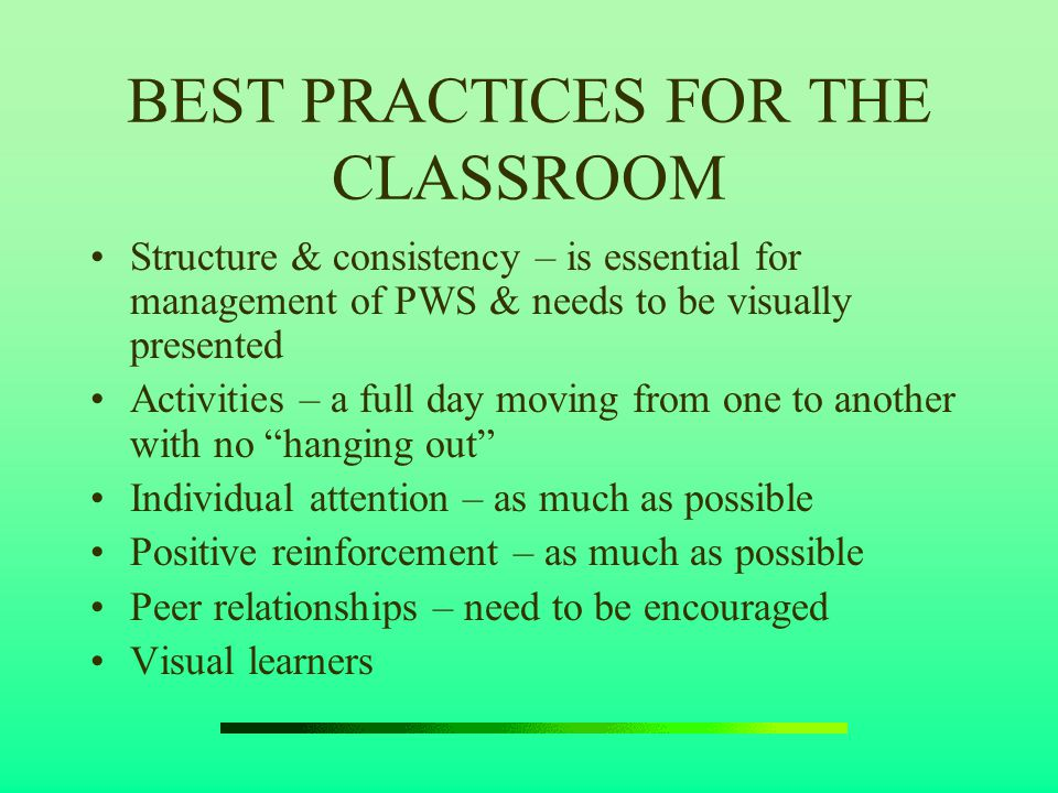BEST PRACTICES FOR THE CLASSROOM