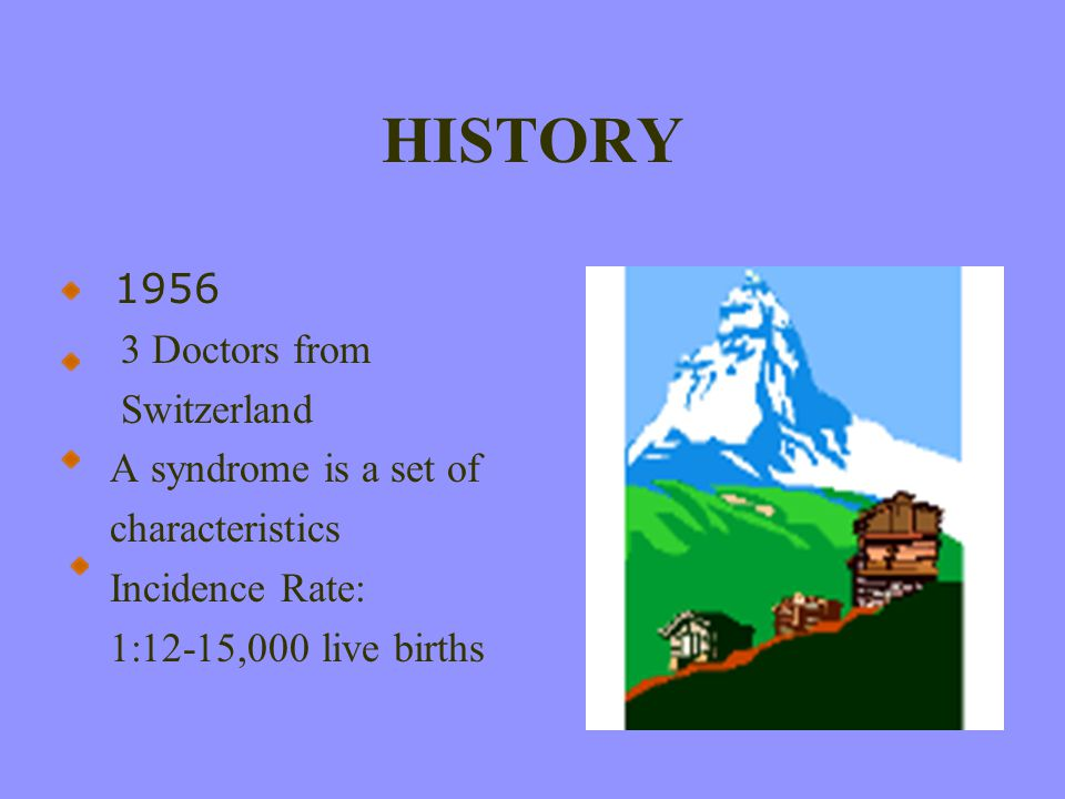 HISTORY 1956 3 Doctors from Switzerland A syndrome is a set of