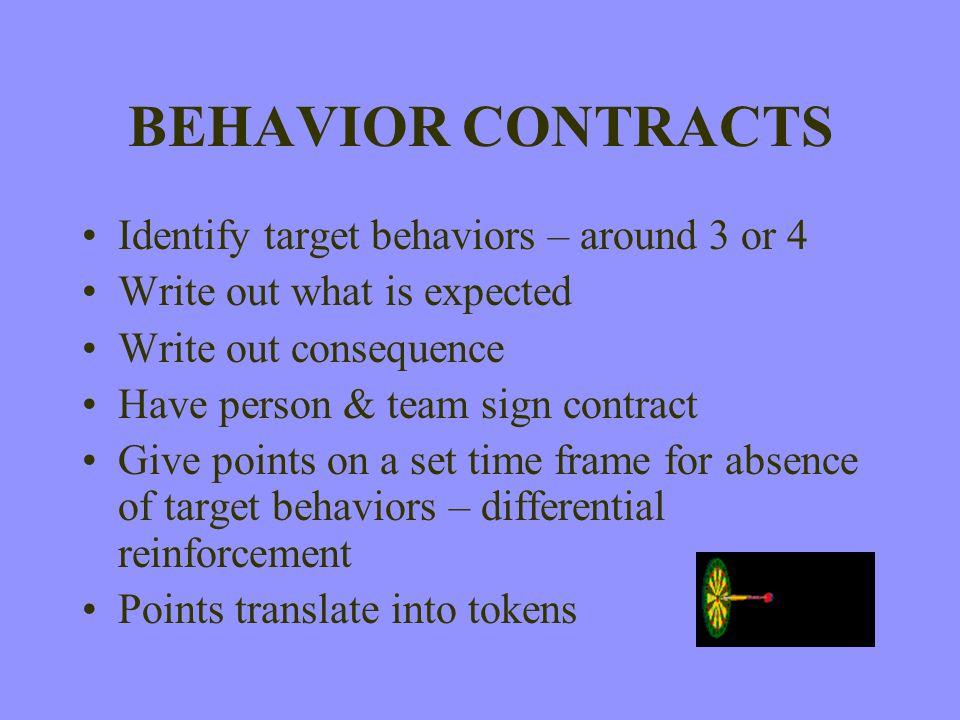 BEHAVIOR CONTRACTS Identify target behaviors – around 3 or 4