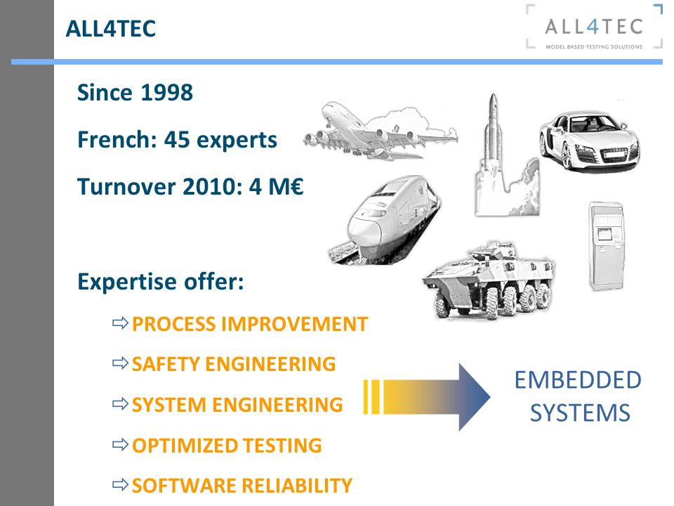 EMBEDDED SYSTEMS ALL4TEC Since 1998 French: 45 experts