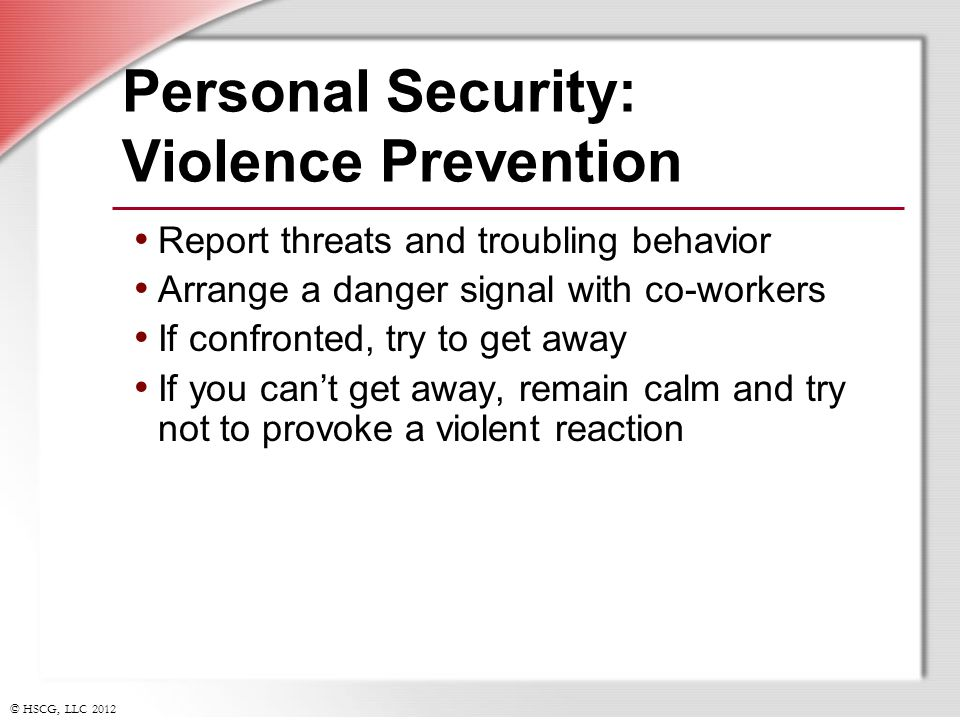 Personal Security: Violence Prevention