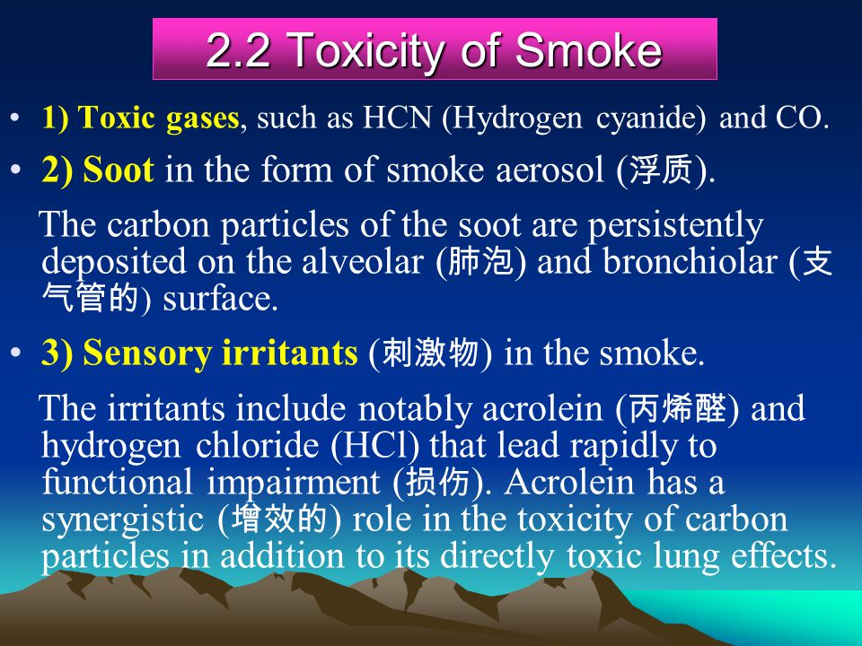 2.2 Toxicity of Smoke 2) Soot in the form of smoke aerosol (浮质).