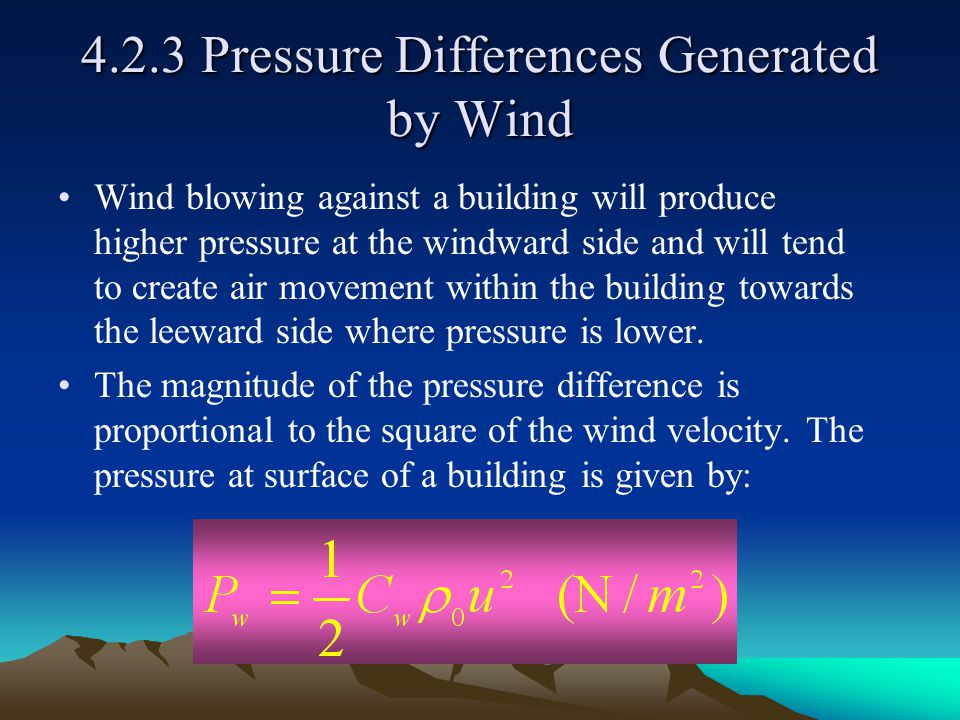 4.2.3 Pressure Differences Generated by Wind