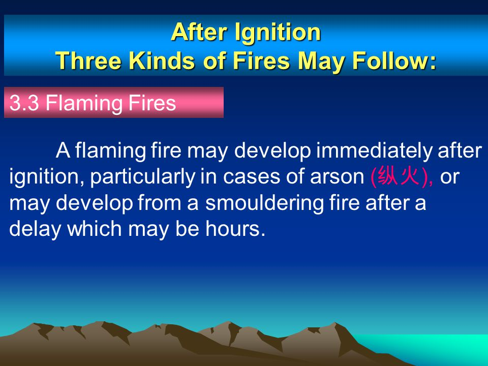 After Ignition Three Kinds of Fires May Follow: