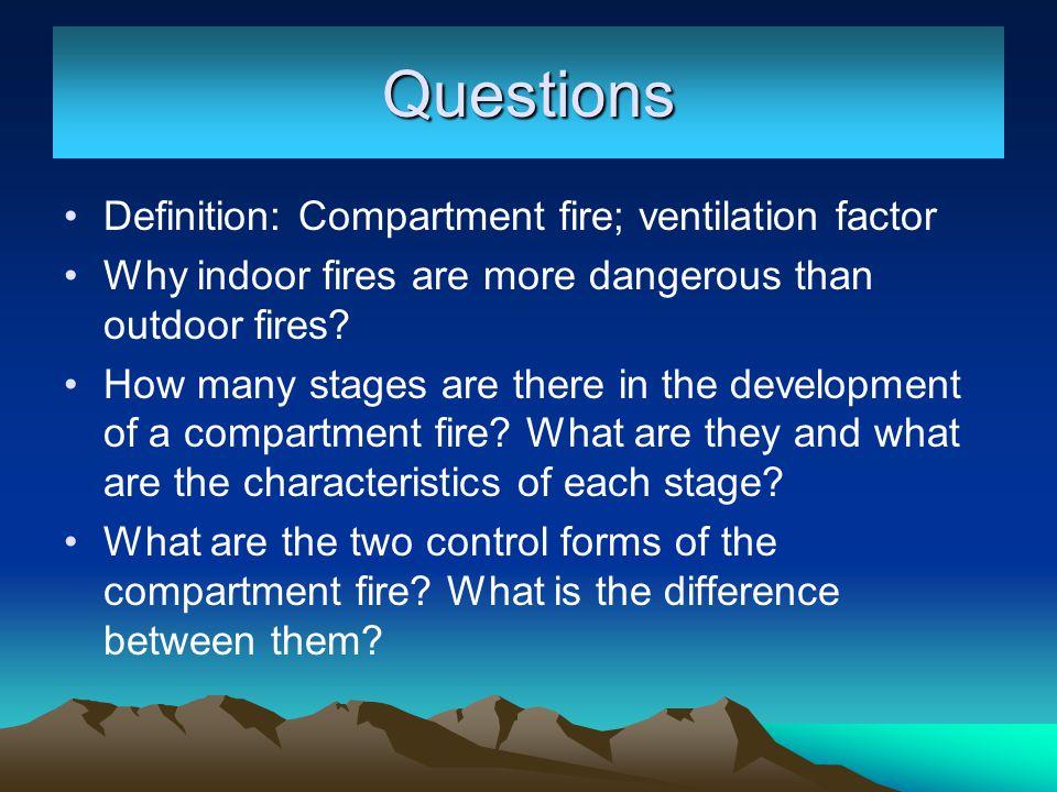 Questions Definition: Compartment fire; ventilation factor