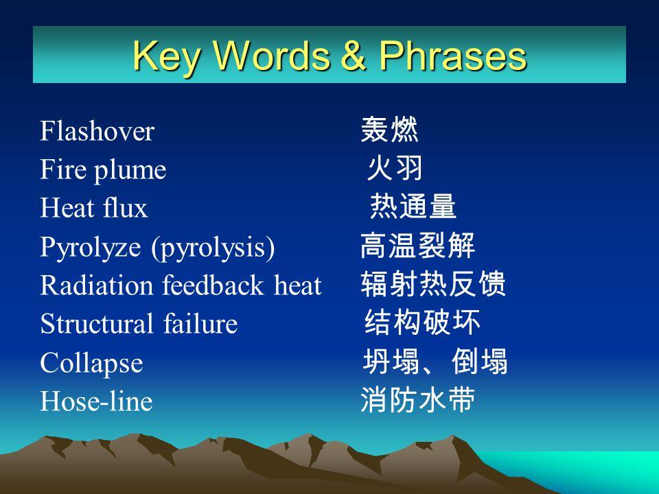 Key Words & Phrases Flashover 轰燃 Fire plume 火羽 Heat flux 热通量