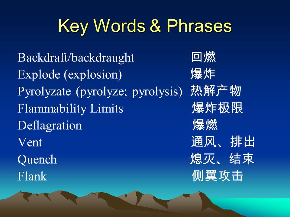 Key Words & Phrases Backdraft/backdraught 回燃 Explode (explosion) 爆炸