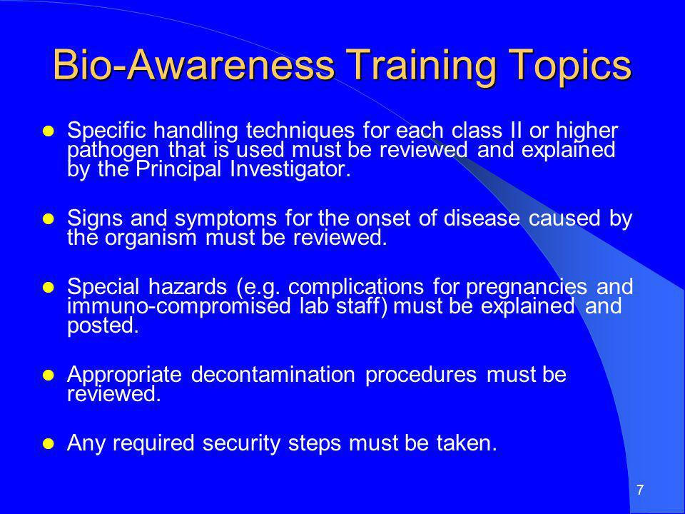 Bio-Awareness Training Topics