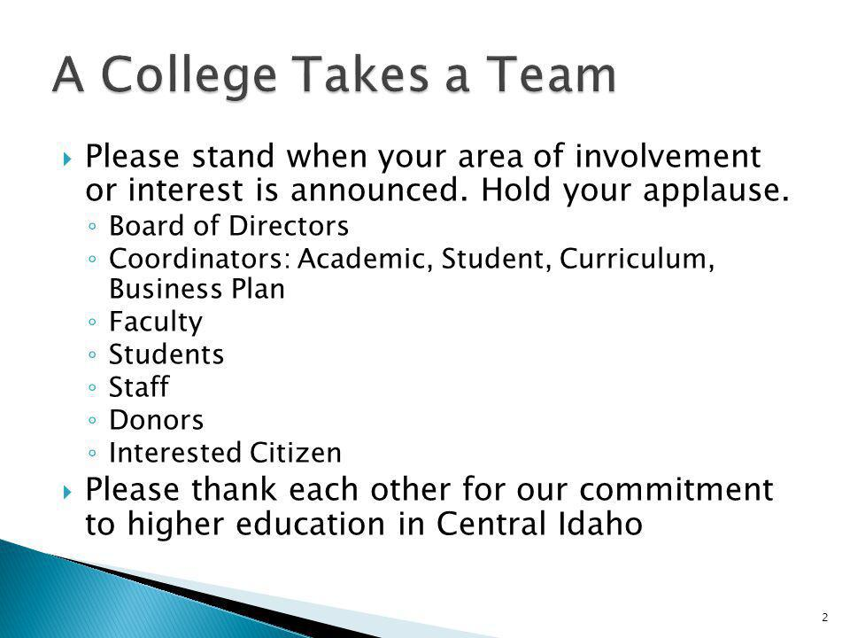 A College Takes a Team Please stand when your area of involvement or interest is announced. Hold your applause.