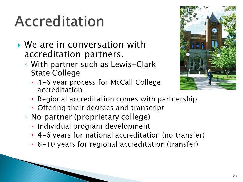 Accreditation We are in conversation with accreditation partners.