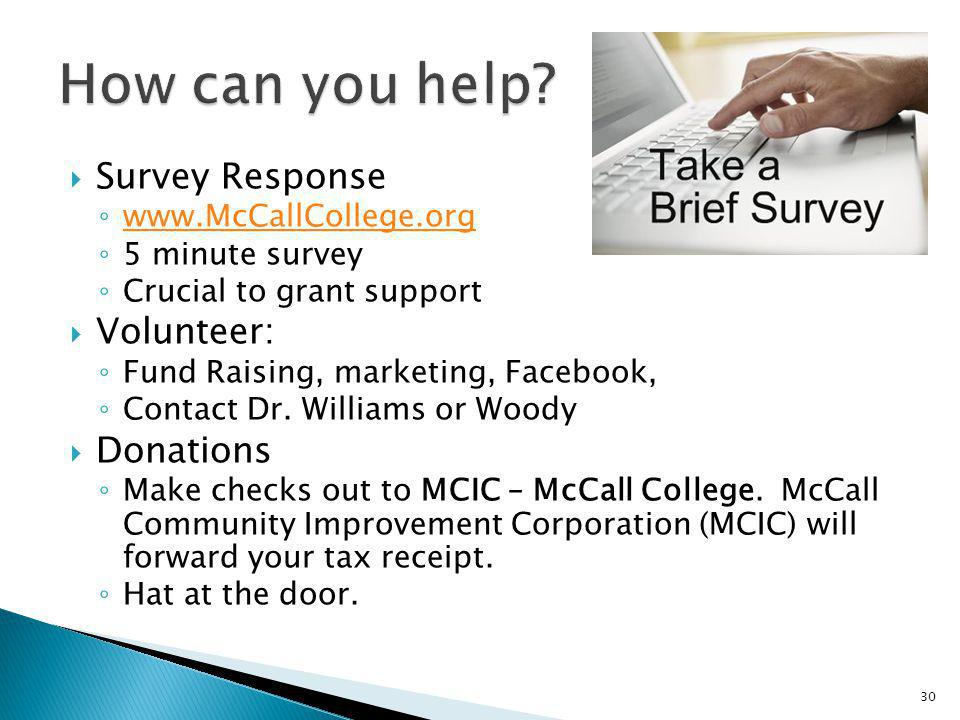 How can you help Survey Response Volunteer: Donations