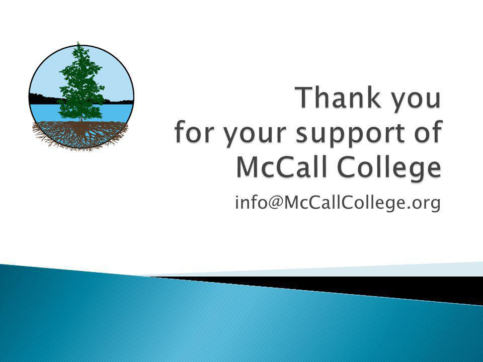 Thank you for your support of McCall College