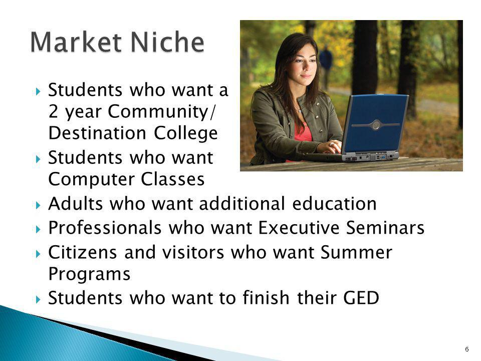 Market Niche Students who want a 2 year Community/ Destination College