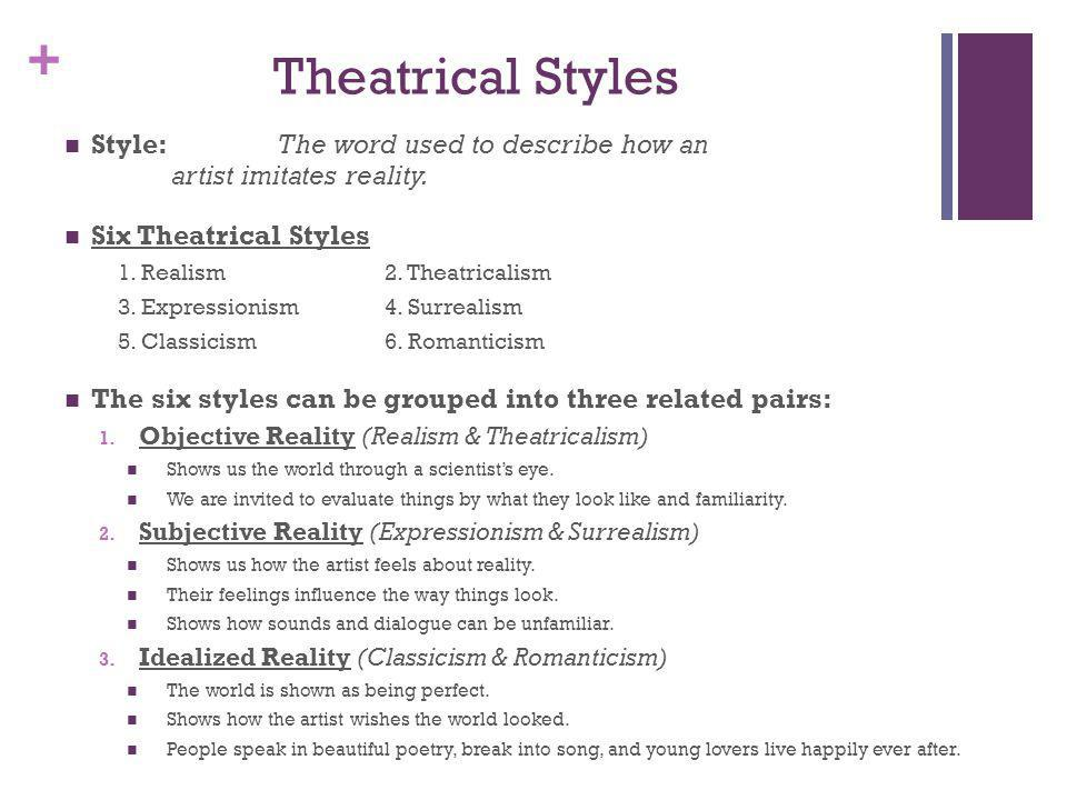 Theatrical Styles Style: The word used to describe how an artist imitates reality. Six Theatrical Styles.