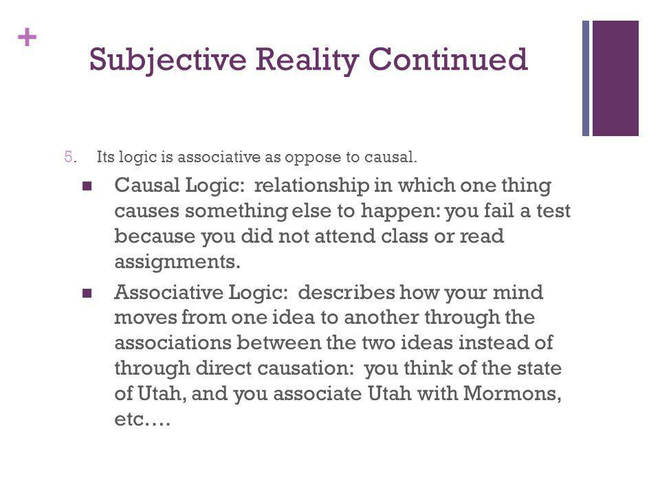 Subjective Reality Continued