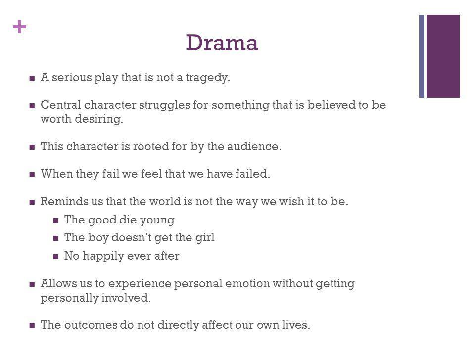 Drama A serious play that is not a tragedy.