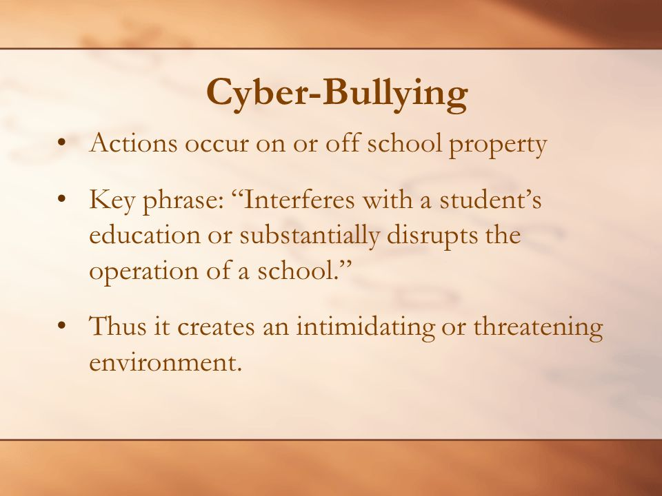 Cyber-Bullying Actions occur on or off school property