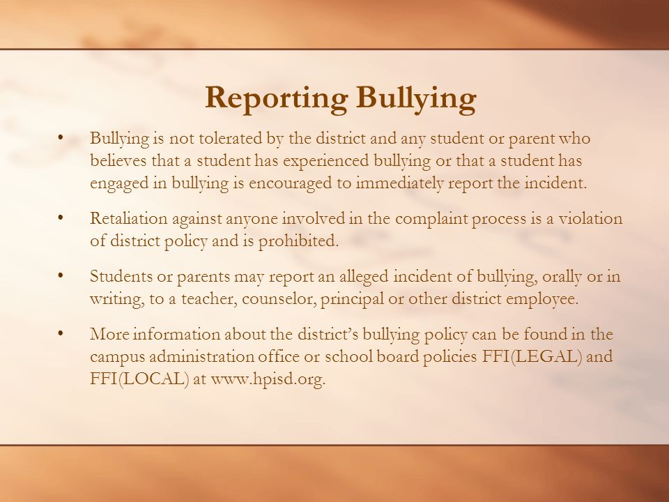 Reporting Bullying