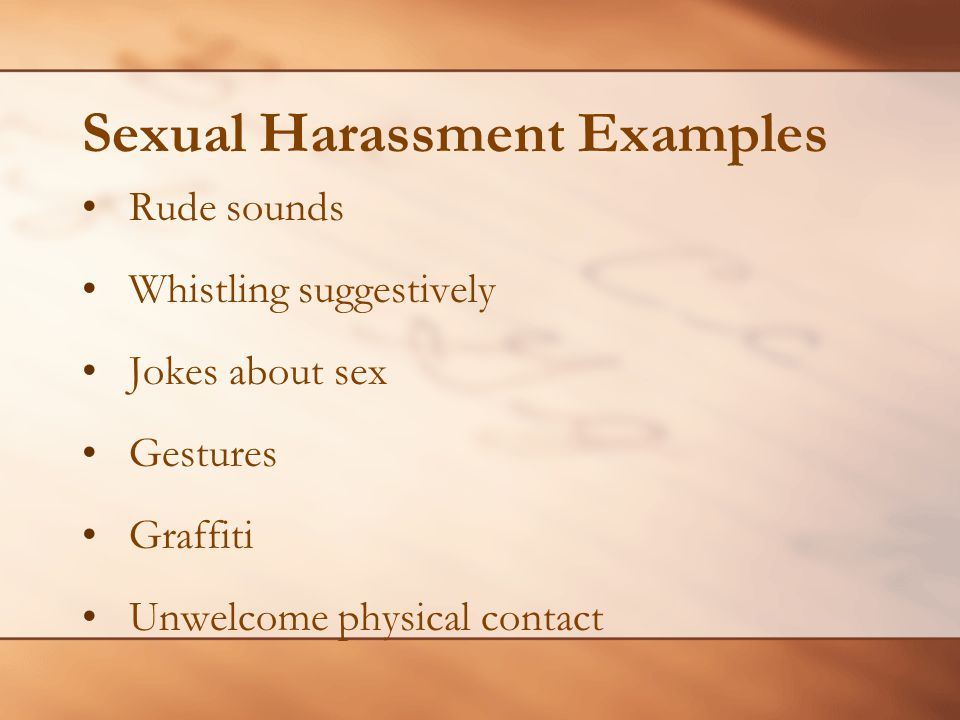 Sexual Harassment Examples