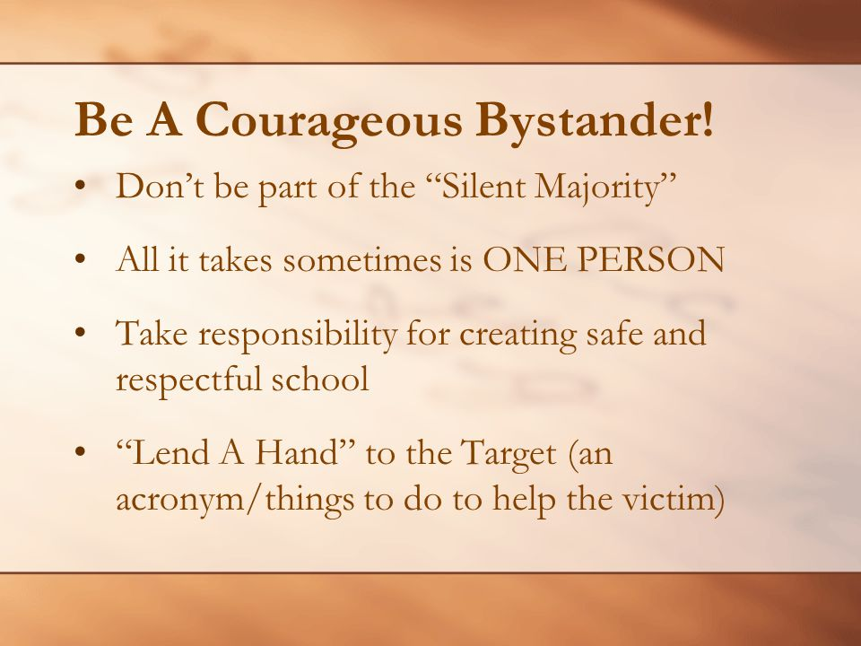 Be A Courageous Bystander!