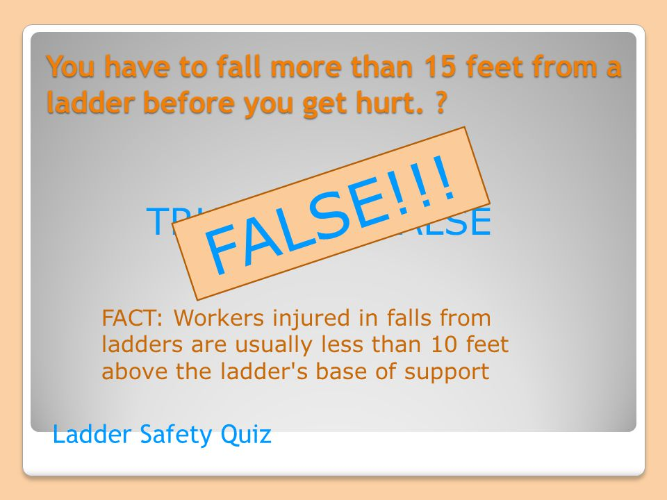 You have to fall more than 15 feet from a ladder before you get hurt.