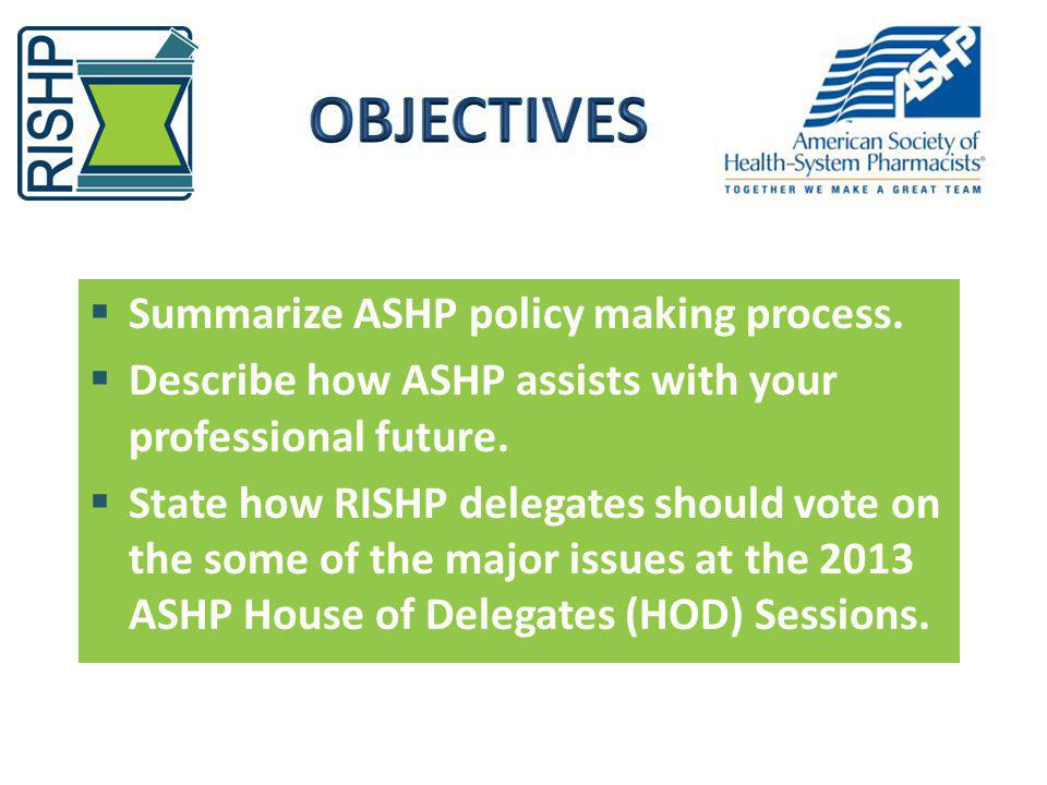 OBJECTIVES Summarize ASHP policy making process.