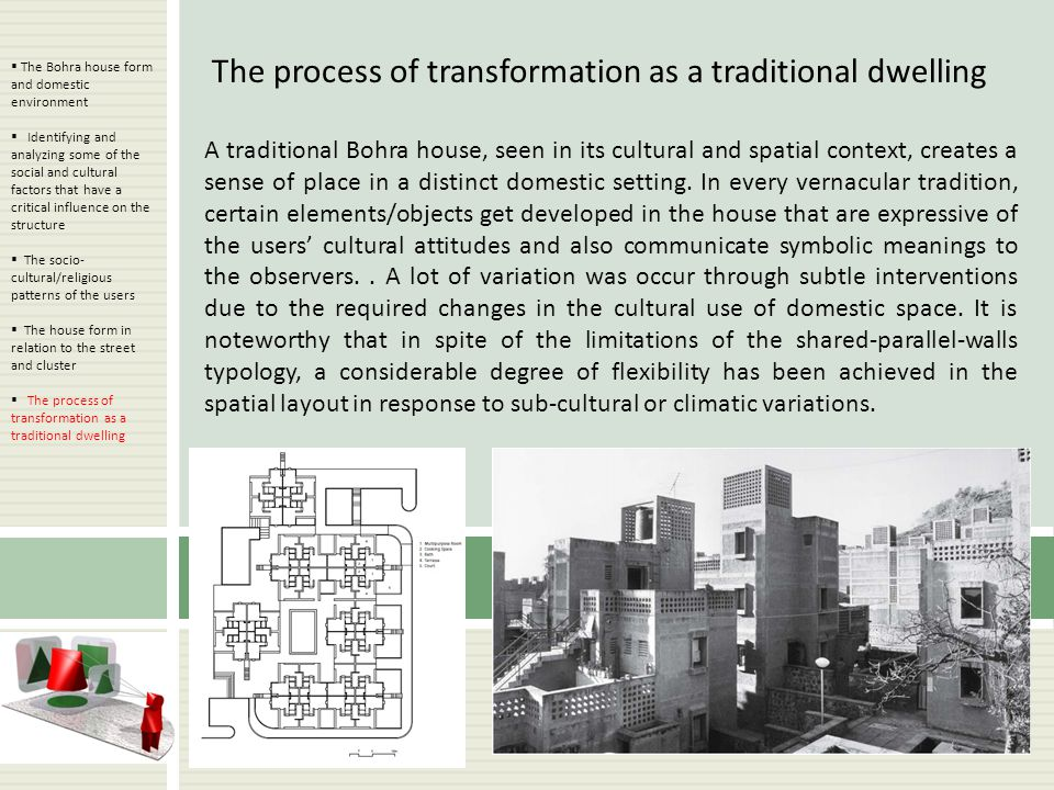The process of transformation as a traditional dwelling