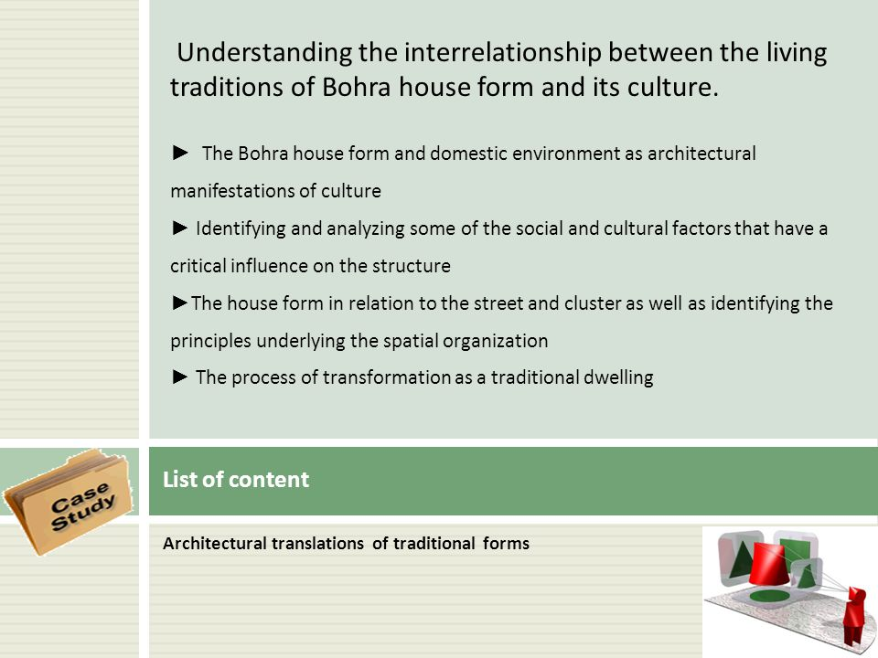 Understanding the interrelationship between the living traditions of Bohra house form and its culture.