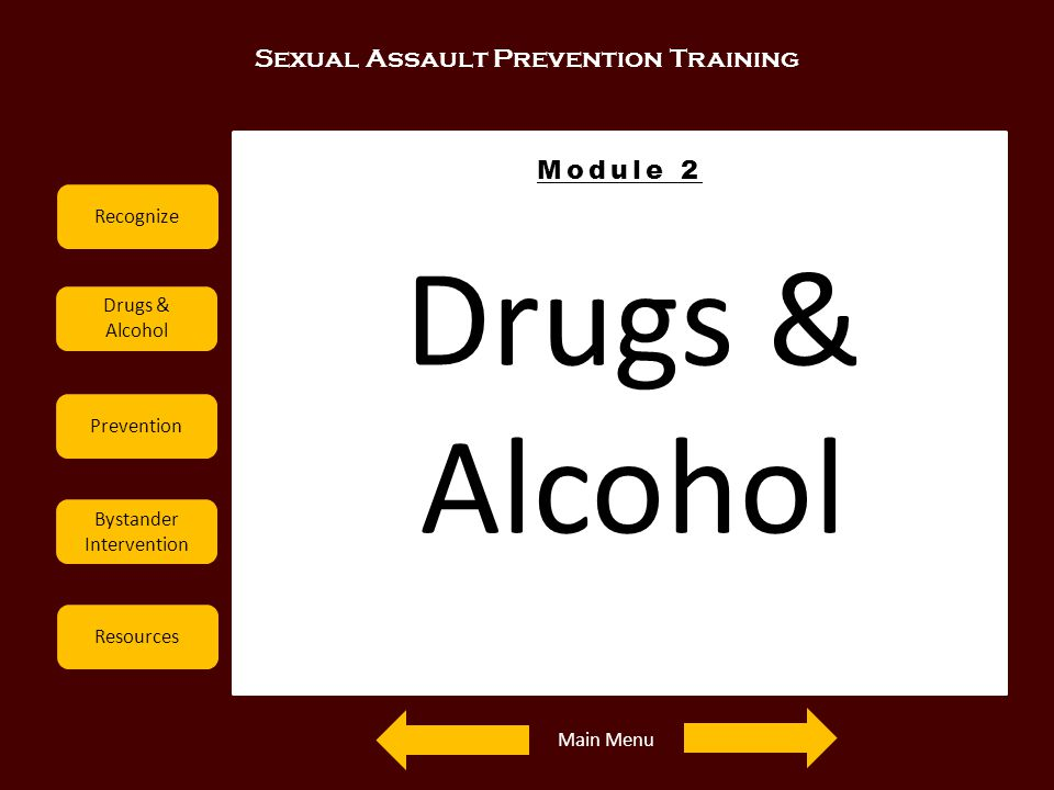 Drugs & Alcohol Sexual Assault Prevention Training Module 2 Recognize