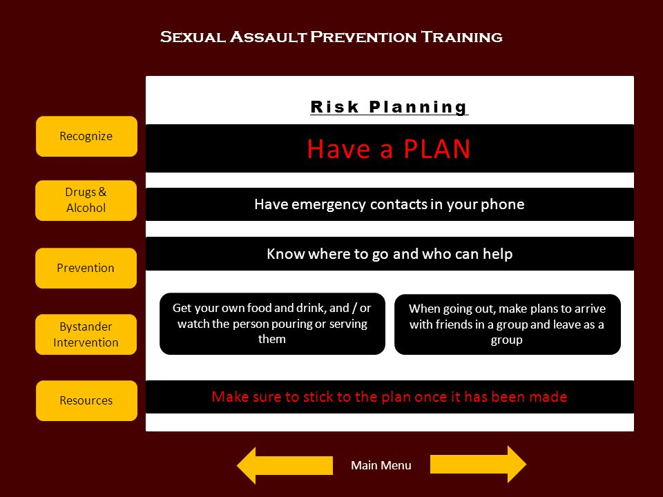 Have a PLAN Sexual Assault Prevention Training Risk Planning