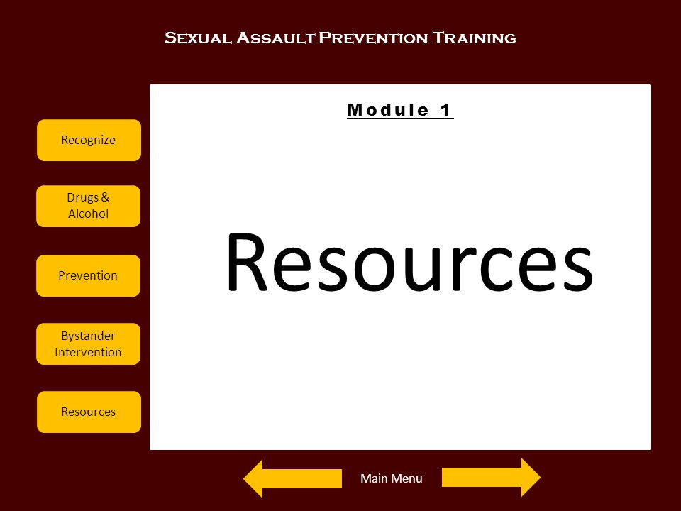 Resources Sexual Assault Prevention Training Module 1 Recognize