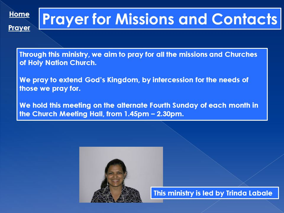 Prayer for Missions and Contacts