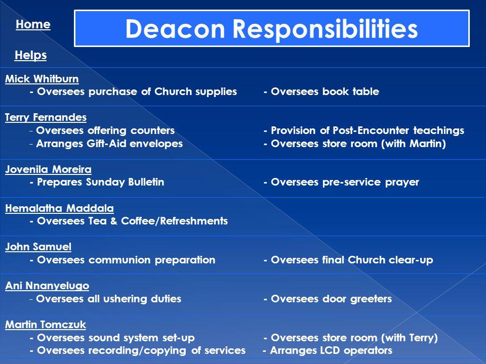 Deacon Responsibilities