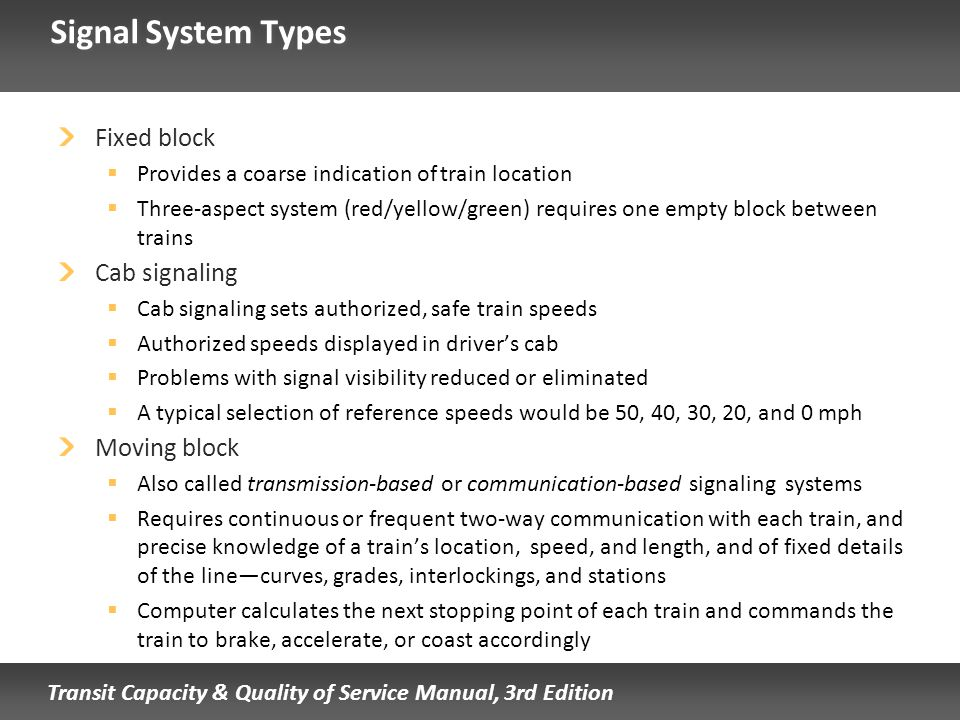 Signal System Types Fixed block Cab signaling Moving block