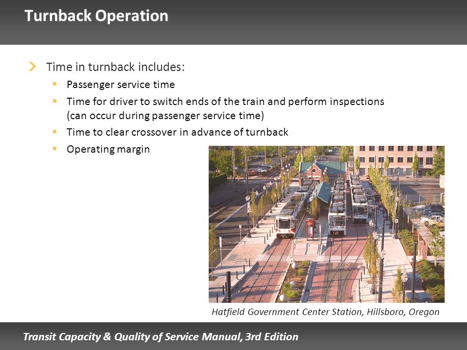 Turnback Operation Time in turnback includes: Passenger service time