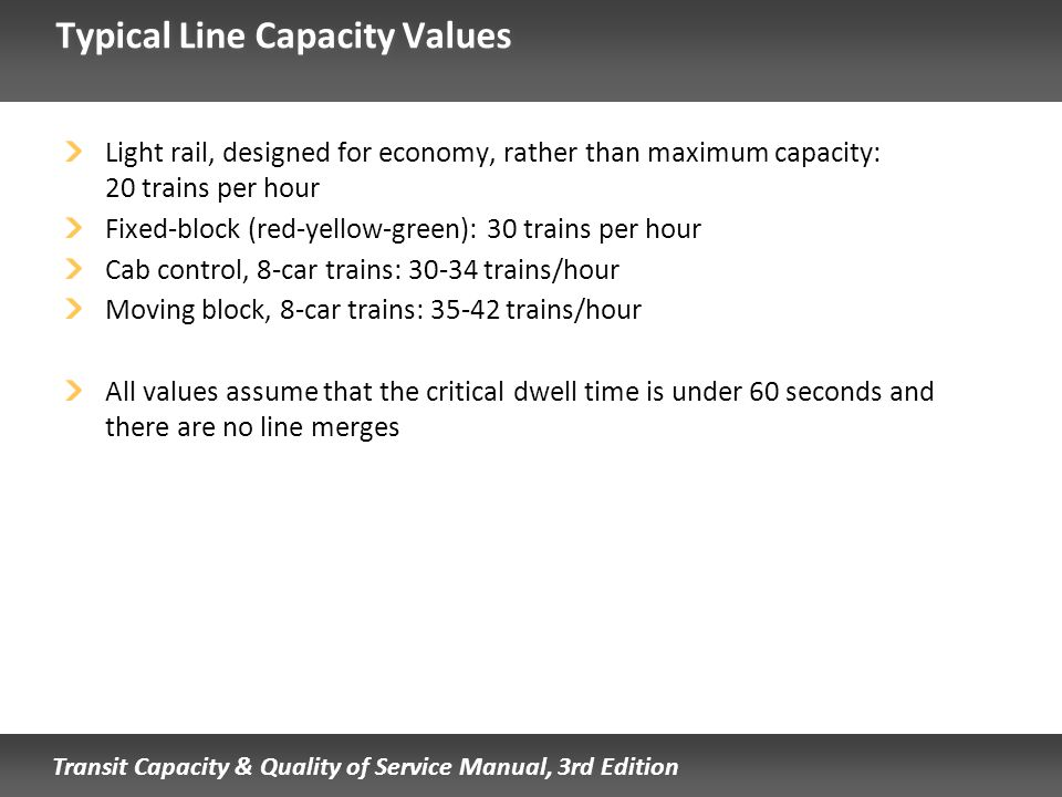 Typical Line Capacity Values