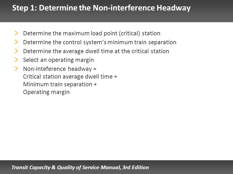 Step 1: Determine the Non-interference Headway