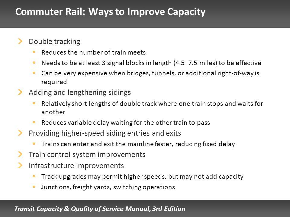 Commuter Rail: Ways to Improve Capacity