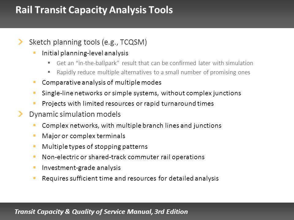 Rail Transit Capacity Analysis Tools